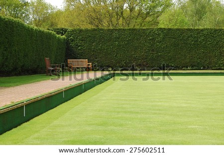 bowling green lawn perspective - stock photo
