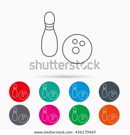 Bowling icon. Skittle or pin with ball sign. Competition sport symbol. Linear icons in circles on white background. - stock photo