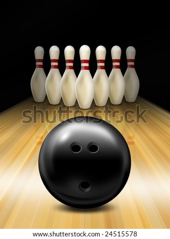 Bowling lane - stock photo
