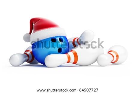 bowling new year santa hat - stock photo
