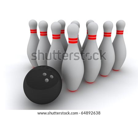 Bowling pin and ball - stock photo
