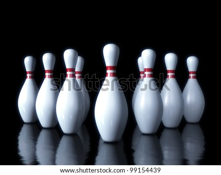 Bowling pin on the dark background 3d sport object - stock photo