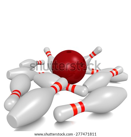 Bowling pins and ball - stock photo