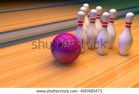 bowling pins and ball. 3D