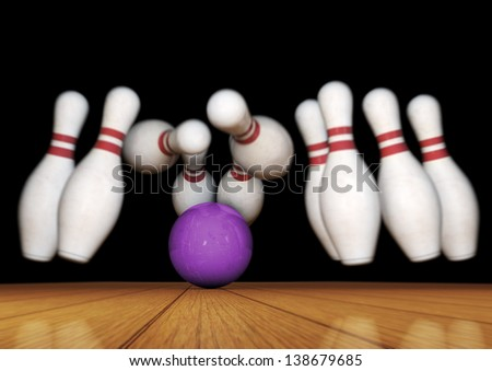 Bowling Pins and Ball Strike Illustration on black background - stock photo