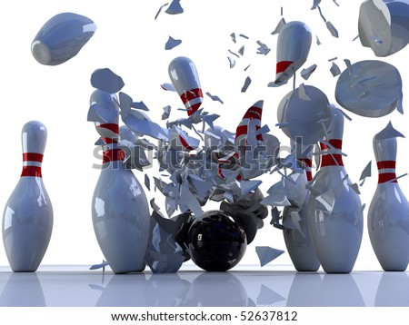 Bowling pins destroyed by ball. 3D render of a bowling ball shattering bowling pins - stock photo