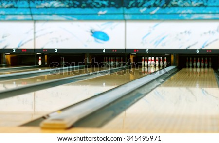 Bowling pins in the bowling club. - stock photo
