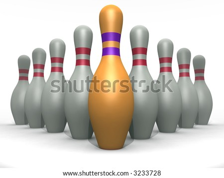 bowling pins of white and goldish color on a white background - stock photo