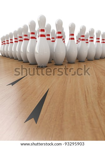 Bowling Pins on white background, Clipping path included. - stock photo