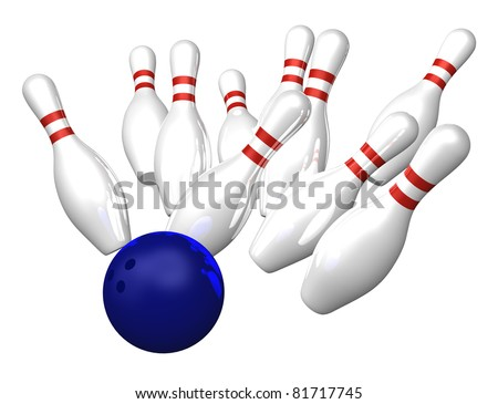 bowling pins on white background - 3d illustration