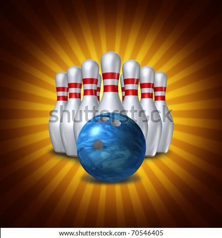 Bowling pins ten pin ball set bowl symbol radial background - stock photo