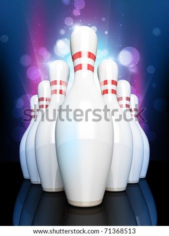 Bowling pyramid on color glow background - stock photo
