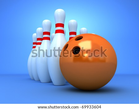 Bowling pyramid with the orange ball - stock photo