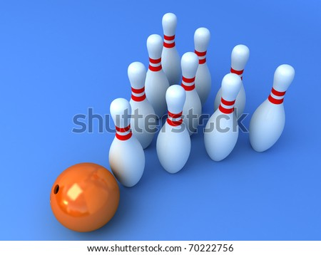 Bowling pyramid with the orange ball