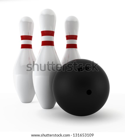 Bowling set. 3d illustration on white background
