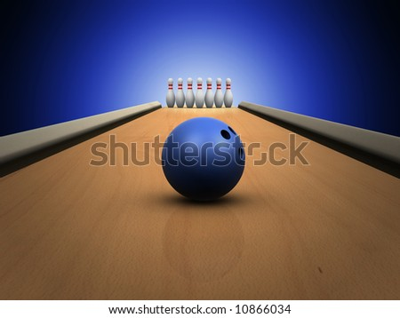 bowling skittles on lane - stock photo