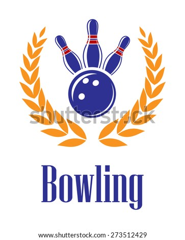 Bowling sports elements in laurel wreath for sporting heraldry design - stock photo