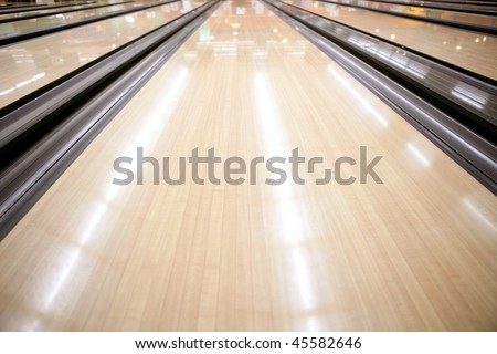 Bowling street wooden floor perspective cream color - stock photo