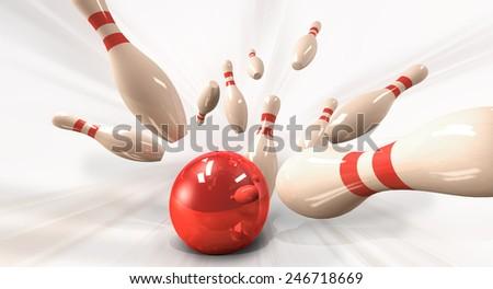 bowling strike - stock photo