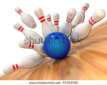 Bowling strike illustration - stock photo