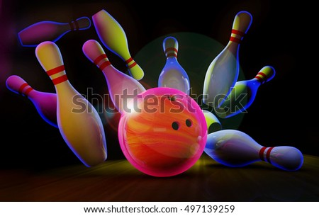 Bowling strike. Neon light. 3D render