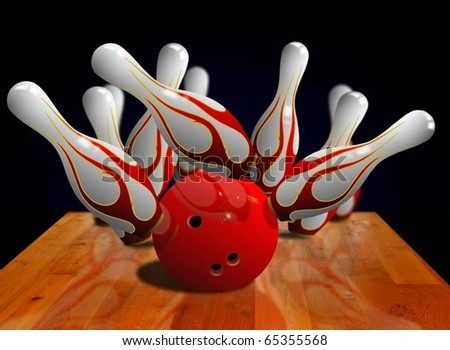 Bowling strike on pin - stock photo