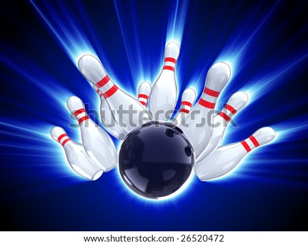 bowling strike shot with glow effect - stock photo