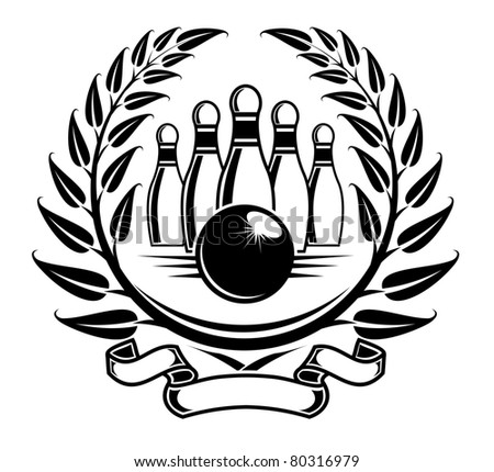 Bowling symbol in laurel wreath in retro style, such a logo. Vector version also available in gallery - stock photo