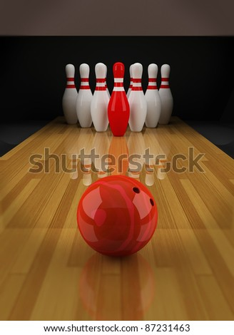 Bowling with a red skittle in the center - stock photo