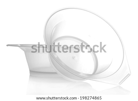Bowls for hair coloring, isolated on white - stock photo