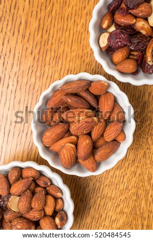 Bowls of assorted nuts for a party.