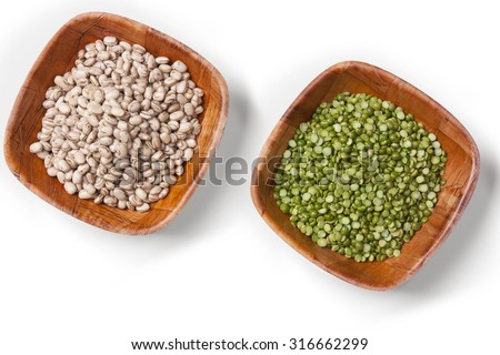 Bowls of beans and lentils - stock photo