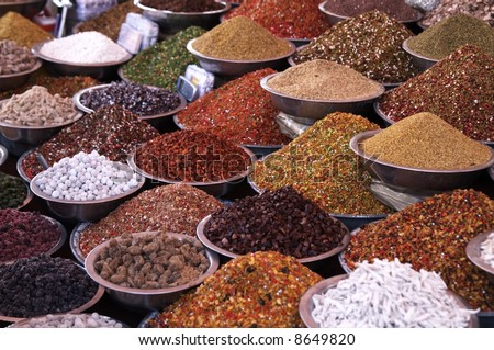 Bowls of pulses and spices on a market stall in Ahmadabad, Gujarat, India - stock photo