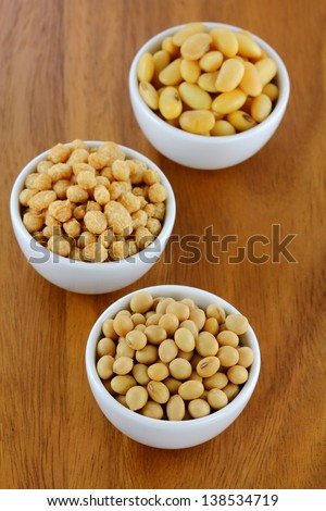 Bowls of Soya Meat (Vegetarian Meat), Soaked Soybeans, Dried Soybeans - stock photo
