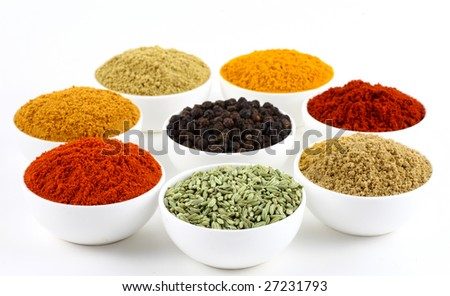 bowls of spice powders  on white background - stock photo
