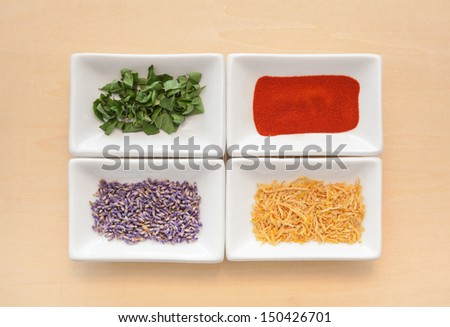 Bowls of Spices, Fresh and Dried