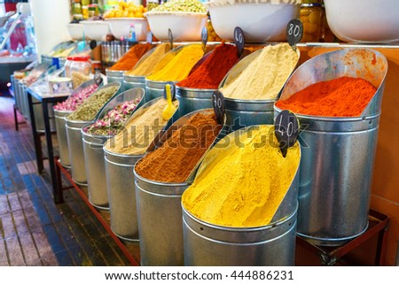 Bowls of various color spices on the market in Marrakesh, Morocco, Africa - stock photo
