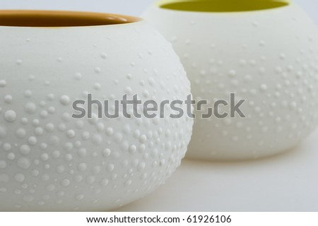 Bowls with Texture on White Background.