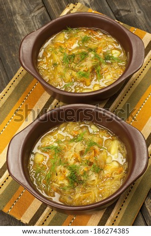 Bowls with  traditional Russian cabbage soup  - stock photo