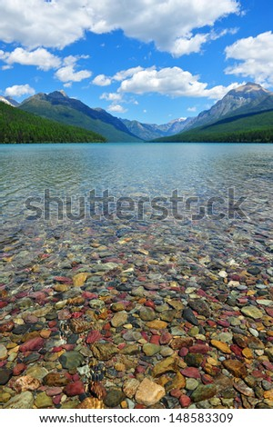 Bowman Lake, Glacier National Park, Montana.  A terrific place to go camping, hiking, or fishing in Montana. - stock photo
