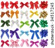 Bows collection isolated on white background - stock photo