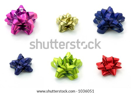 Bows in different color, isolated white - stock photo