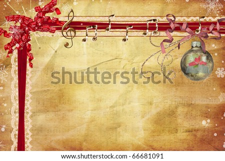 bows, ribbons and ornament on vintage paper background - stock photo
