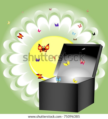 box and butterfly - stock photo