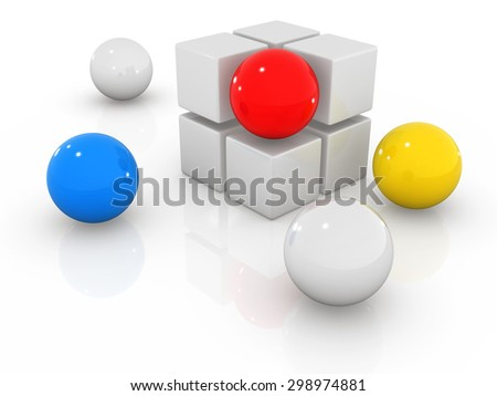Box and sphere , This is a computer generated and 3d rendered picture. - stock photo