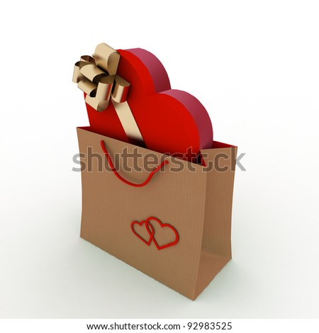 box as heart form with a gold bow in a bag for a gift on a white background - stock photo