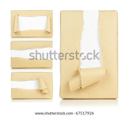 Box brown paper torn compilation - stock photo