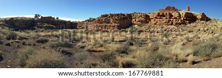 Box Canyon Ruins in Wupatki National Monument in Arizona - stock photo