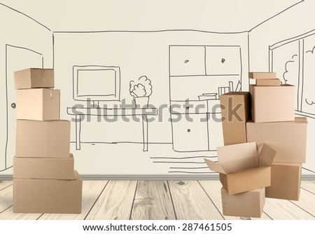 Box, Cardboard Box, Moving Office. - stock photo