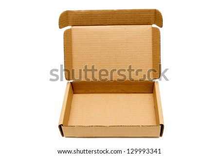 Box Corrugated With Opened Lid / Isolated On White - stock photo